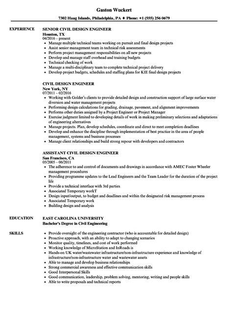 civil design engineer resume sles velvet