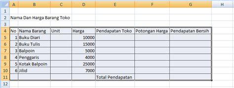 membuat tabel menu html cara membuat tabel menggunakan excel 2007
