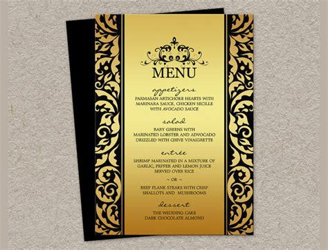 24 dinner party menu psd word