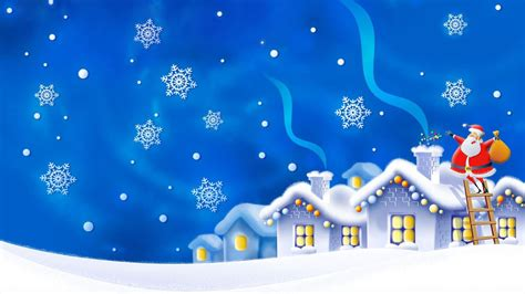 santa claus christmas gifts winter night houses snow flakes hd wallpaper  desktop