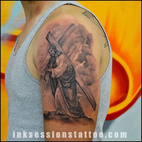 jesus carrying the cross tattoos 100 best tattoos design images on ideas
