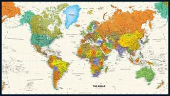 World Map Wall by Contemporary World Wall Map