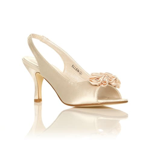 Satin Heels Wedding new womens ivory white satin wedding bridal shoes