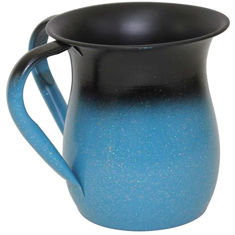Jewish Gifts   Hand Washing Cup   Teal And Black Stainless