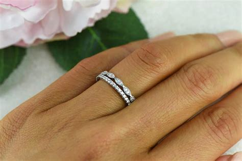 deco wedding band and half eternity band delicate