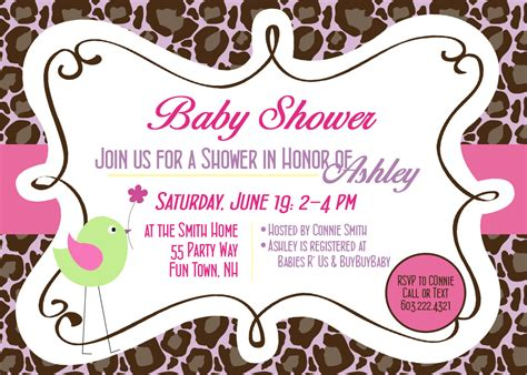 pink baby shower invitation templates pink and brown baby shower invitations template best