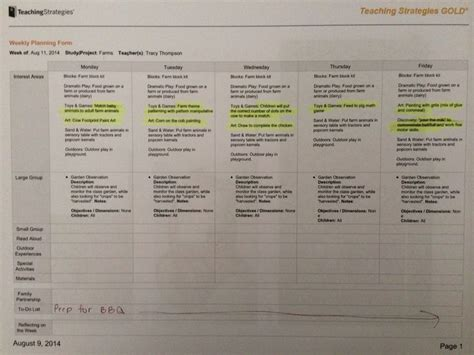 teaching strategies gold lesson plan template a sle of one of my tsg lesson plans for the week