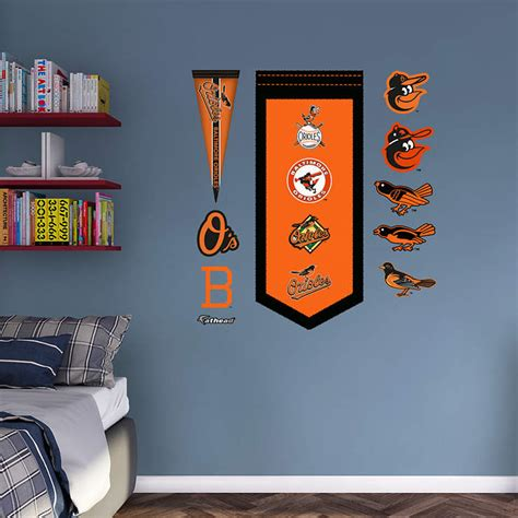 Orioles Bedroom Decor by Baltimore Orioles Logo Evolution Banner Wall Decal Shop