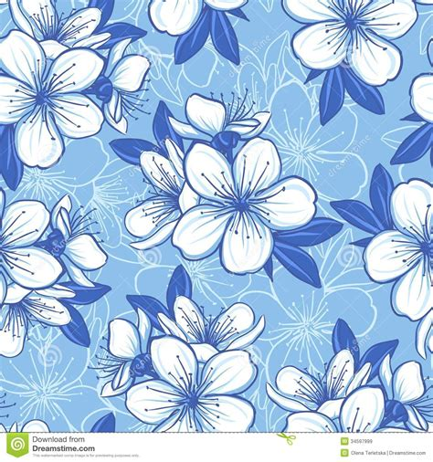 pattern flower blue seamless pattern with blue flowers royalty free stock