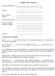 nanny contract template free sle nanny contract for free formxls
