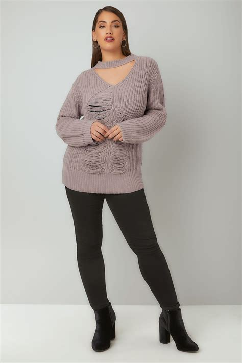 Modell S Gift Card Balance Check - limited collection dove grey chunky knitted distressed jumper with choker neck plus
