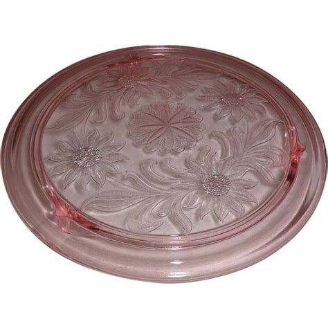 sunflower pattern pink depression glass lovely pink depression glass 10 in footed cake plate
