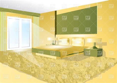 green and yellow bedroom bedroom interior in green and yellow vector image 27100 rfclipart