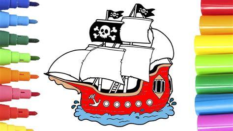 barco pirata dibujo coloreando barco pirata aprende los colores con dibujos