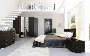 Black and white brown bedroom mezzanine interior design ideas