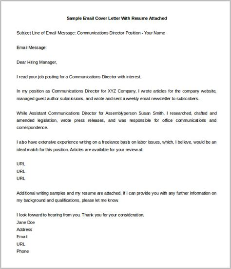 Sle Email Cover Letter by Sle Of Email Cover Letter With Resume Attached 28 Images Email Cover Letter Sle Email Cover