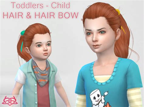ponytailsims 4 child child toddler hair hair bow by colores urbanos at tsr