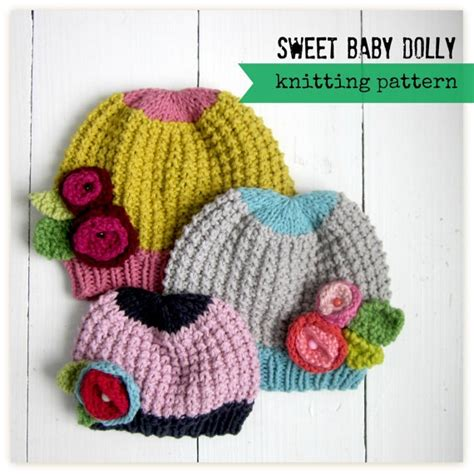 how to knit flower for baby hat knitting pattern baby hat with flowers pdf instant