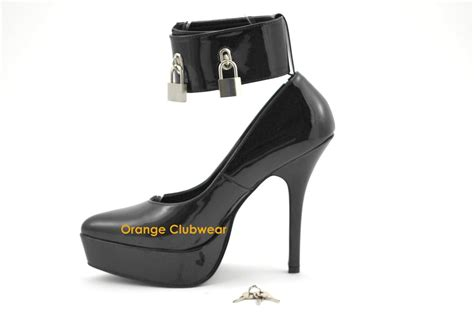 locked high heels pleaser womens black platform pointed toe locking ankle