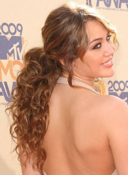 hairstyles curly ponytail miley cyrus ponytail hairstyles popular haircuts