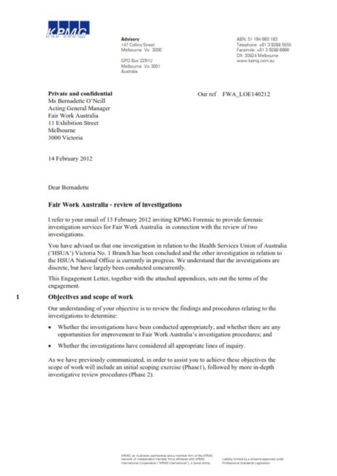 kpmg cover letter the quot independent quot review of fwa s thomson investigation
