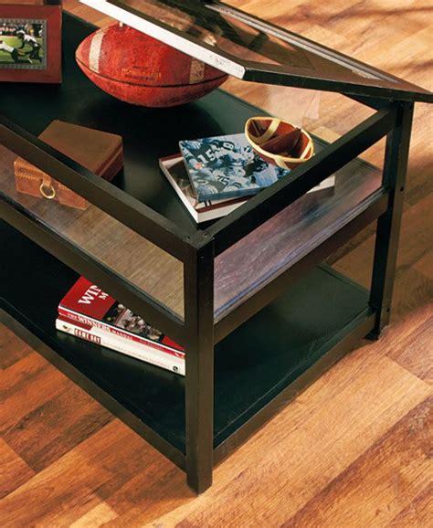 black coffee table display glass top memorabilia end