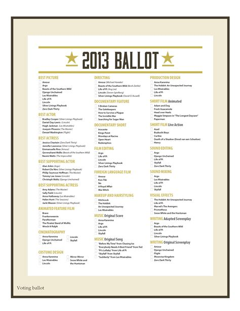 free ballot template free oscar printables from partychic catch my