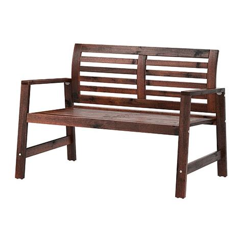 ikea bench 196 pplar 214 bench with backrest outdoor brown stained ikea