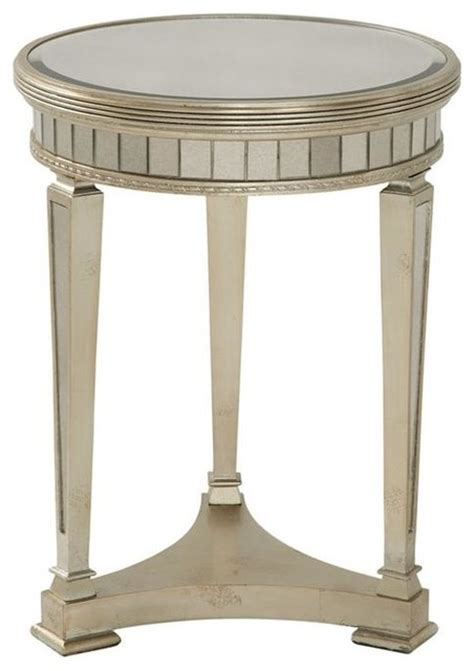 sojourn contemporary antique mirror round accent side mirrored round end table w 3 legs in antique