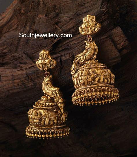 antique design antique gold peacock nakshi jhumkas jewellery designs