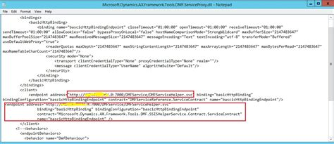 an endpoint configuration section for contract d365 ax7 dixf could find the default endpoints element