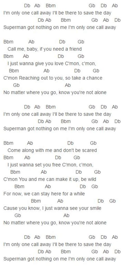 testo one and only one call away chords puth puth