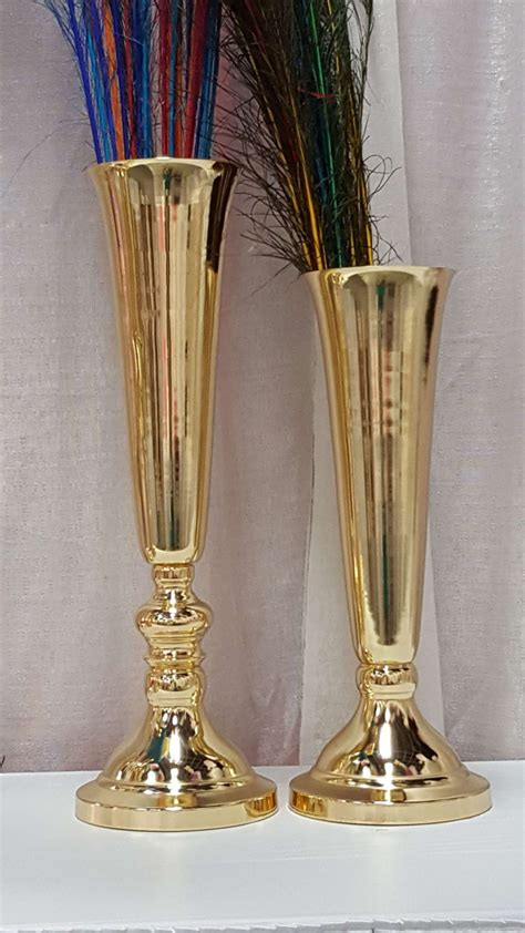 gold metal trumpet vases polished wedding centerpieces