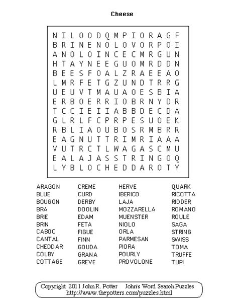 Plant Potters by John S Word Search Puzzles Cheese