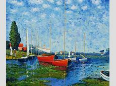 Claude Monet-Red Boats at Argenteuil Oil Painting ... Famous Acrylic Painting