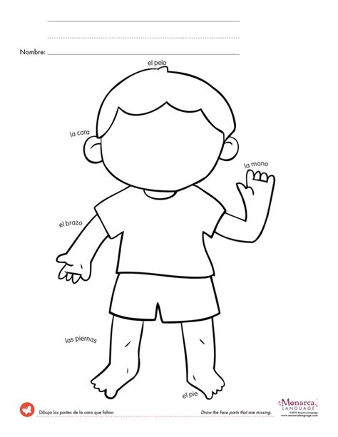 printable activities for children parts of the body spanish worksheets for kindergarten great game to keep