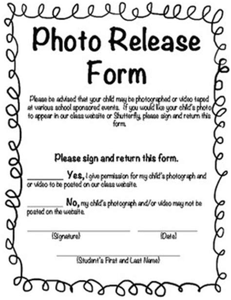 Photo Release Form Template For Children consent release forms the kitchen sink