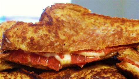 comfort pizza forkful of comfort pizza grilled cheese