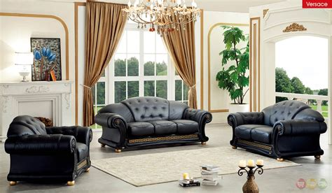 Italian Living Room Sets by Versace Black Genuine Italian Leather Luxury Sofa Loveseat