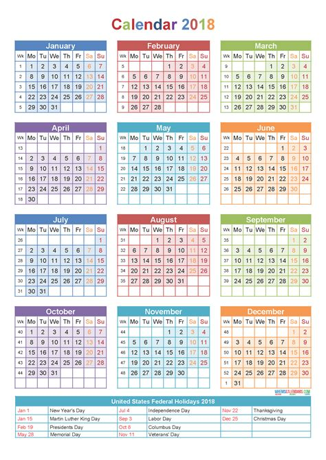2018 calendar with holidays week numbers pdf image