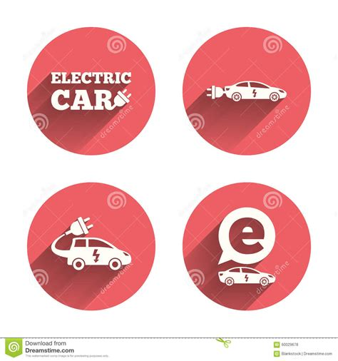 electric vehicles symbol electric plug sign icon power energy symbol set with long