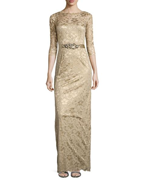 rickie freeman for teri jon 34 sleeve lace overlay gown navy rickie freeman for teri jon 3 4 sleeve lace overlay gown gold