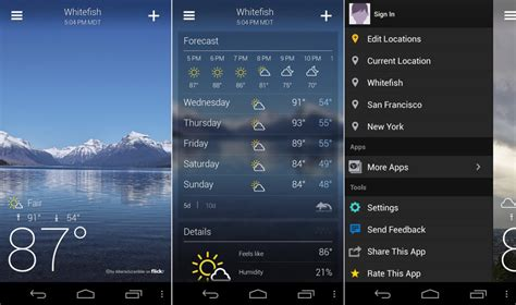 what is the best weather app for android yahoo weather app for android gets overhauled is now pretty damn beautiful droid