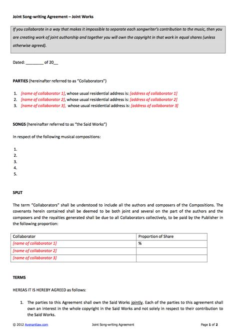 songwriting template joint songwriting contract template