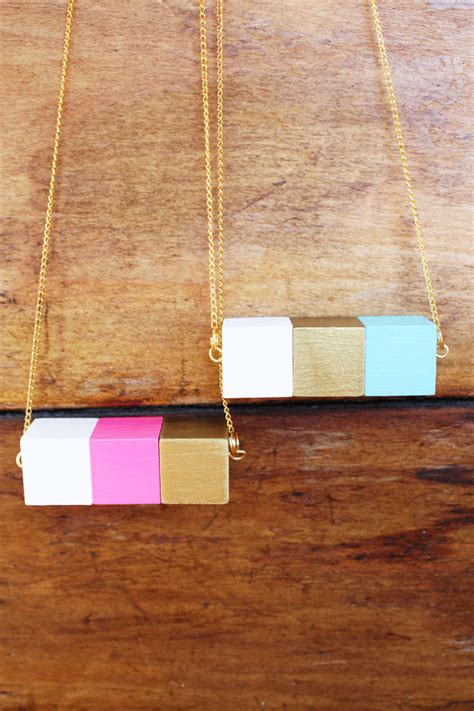 eco friendly wood picture of painted block necklace