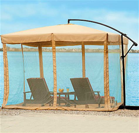 Patio Umbrella Mosquito Net 10 Square Offset Umbrella And Mosquito Netting Contemporary Outdoor Umbrellas By