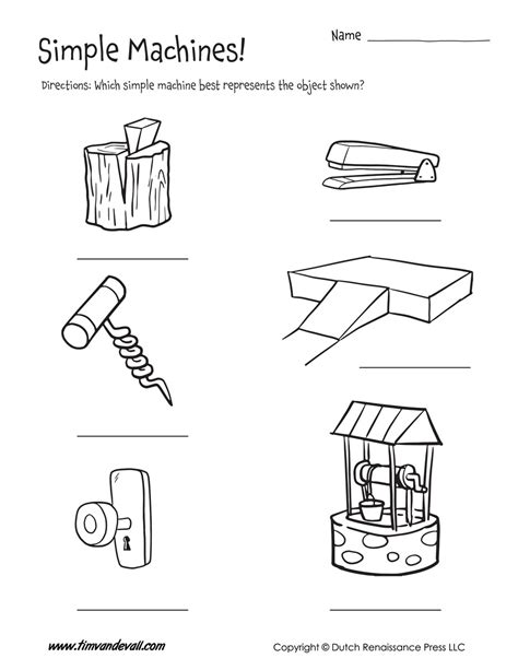 simple machine exles worksheet tim s printables