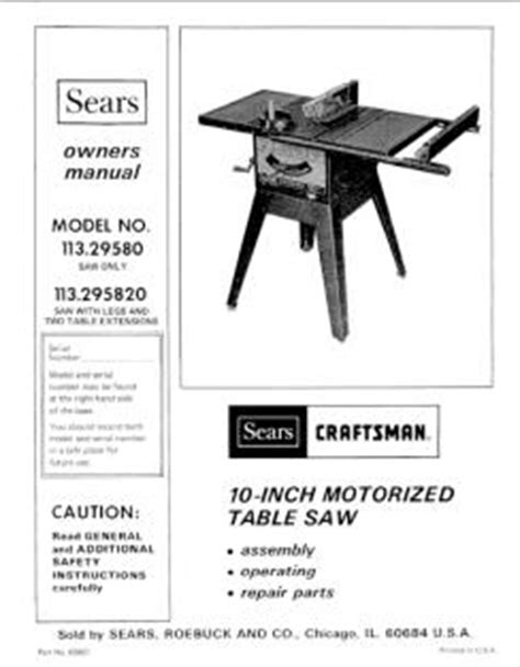 craftsman table saw 137 248481 113 295820 craftsman 10 inch motorized table saw manual