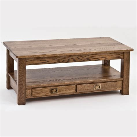 "Solid Oak Mission Arts and Crafts Coffee Table   43""   The"