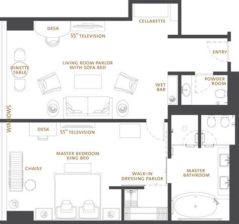 hotel suite floor plan luxury one bedroom hotel suites the langham chicago
